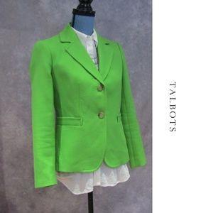 NWOT Talbots Petites Green 2 Button Blazer 6P